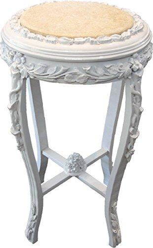 Casa Padrino Barock Beistelltisch Rund 'Flowers' Weiß/Creme Antik Look - 71 x 42 cm