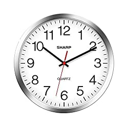 SHARP Wall Clock – Silver/Chrome, Silent Non Ticking 10 Inch Quality Quartz Battery Operated Round Easy to Read Home/Kitchen/Office/Classroom/School Clocks, Sweep Movement