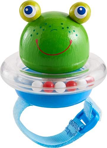 HABA 305107 - Buggy-Spielfigur Frosch, Kinderwagen-Spielzeug mit Quietsche und Klapperring, flexible Befestigung per Klettverschluss, Babyspielzeug ab 12 Monaten