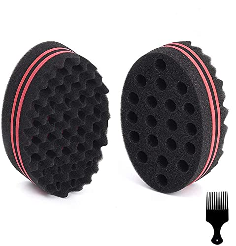 BIGEDDIE Big Holes Sponge for Hair, Twist Sponge, Magic Sponge Brush, Afro Hair Sponge for Curls with 6.29 Inch Free Hair Pick Comb (2 PACK)