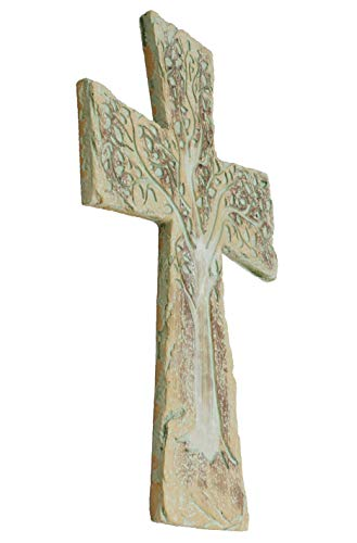 Tree of Life Wall Cross - Rustic Stone Look Verdigris Decorative Spiritual Art