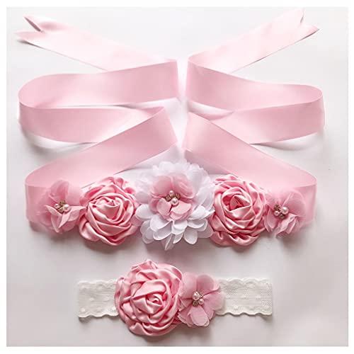 Afrsmw Cinturón de Mujer con Flor Cinturón de Chicas con Diademas Set...