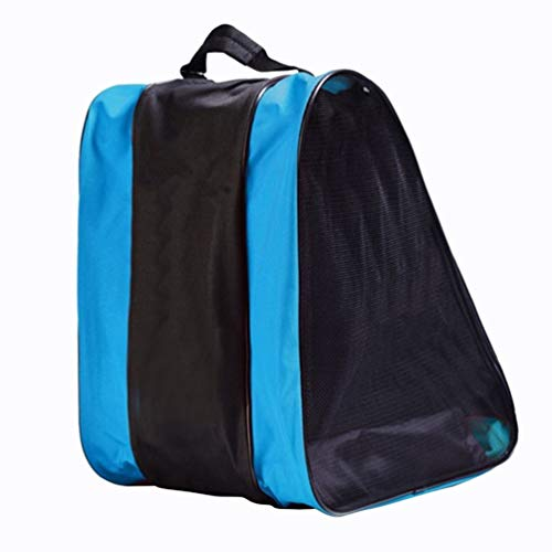 VORCOOL Bolso de Patinaje Sobre Ruedas Bolso de Malla Sobre Hielo con Malla Bolso de Hombro Ajustable Sobre Correa para el Hombro (Azul)