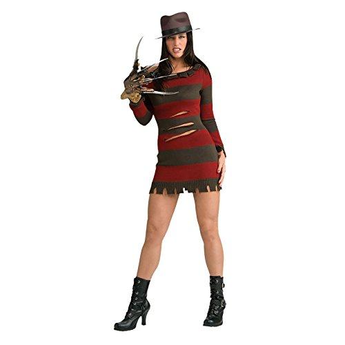 Original Lizenz Miss Krüger Nightmare on Elm Street Damenkostüm Freddy Krüger Set Kostüm Maske Freddyset Handschuh Shirt Halloween Horror für Damen Gr. XS, S, M, Größe:XS