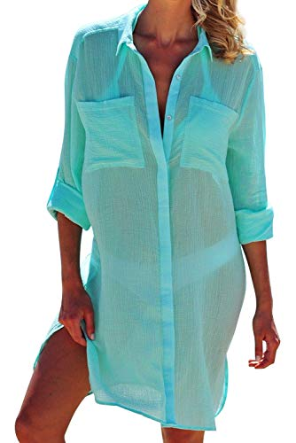 Landove Camisolas y Pareos Mujer Mini Vestido Asimetrico Camisas Top