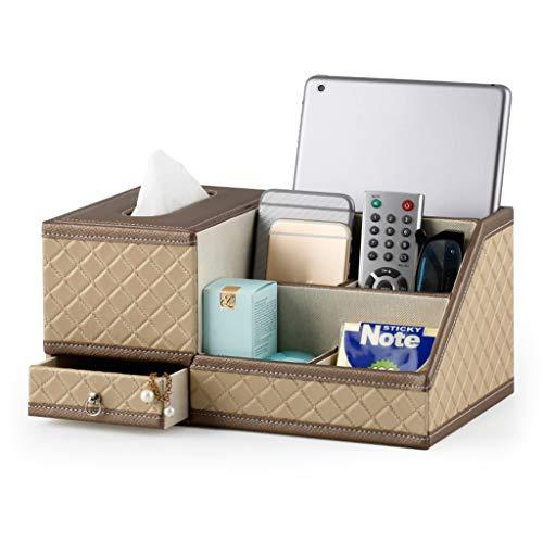 ZH Support de boîte à mouchoirs en cuir de style européen en simili-cuir, plateau de serviettes multifonctions, salon, table basse, boîte de rangement avec télécommande, 30.5x18x14.5cm