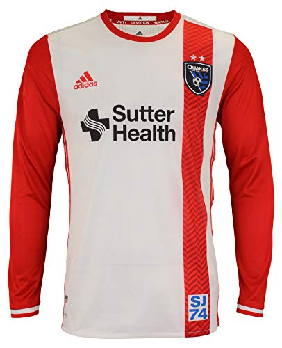 adidas Men's MLS Cllimacool Authentic Long Sleeve Jersey, San Jose Earthquakes X-Large