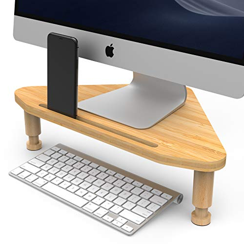 Nextation Corner Monitor Stand, Height Adjustable Bamboo Monitor Riser, Triangle Desktop Mount for Computer Monitor and Laptop, Ergonomic Wood Stand for Office and Home