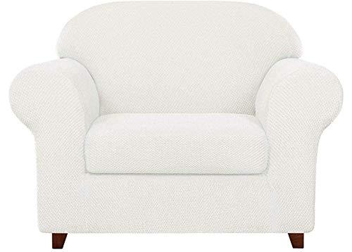 Funda de sofá de jacquard granulado de 2 piezas, funda para sillón de spandex de alta elasticidad, protector de muebles de moda, abrigo de cojín elástico reutilizable (blanco roto, 1 plaza/silla)