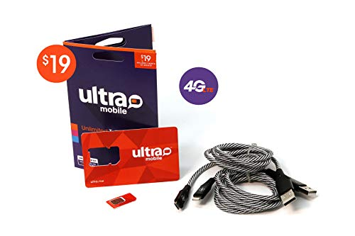 $19 Ultra Mobile 1GB Rechargable Plan- 4G LTE GSM (T-Mobile) SIM Kit - Unlimited Talk and Text - 3 in 1 Prepaid Card