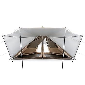 Naturehike Tente Pyramide 5/8 Personnes Hexagone Tipi Tente Résistant Aux Intempéries Robuste Tente de Camping Familiale pour Randonnée Vacances UV 50+ (Kaki 5-8P)
