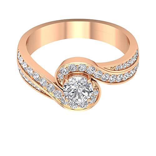 Anillo de compromiso con vástago en espiral, HI-SI, anillo de diamante solitario de 1 ct, anillo de boda con halo, anillo de declaración nupcial, joyería de novia vintage, 14K Oro rosa, Size:EU 70