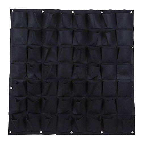 Ducomi Jardín vertical 56 Bolsillos pared macetas la decoración de diseño modular Negro 56 bolsa