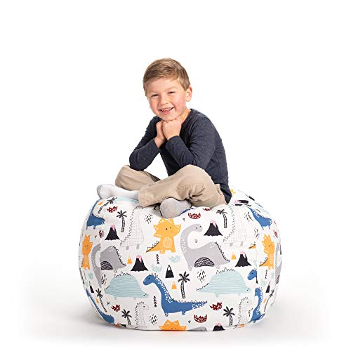 Stuffed Animal Storage Bean Bag Chair - Large Stuff n Sit by Creative QT - Organization for Kids Toy Storage - Available in a Variety of Sizes and Colors (33, Dinosaur)