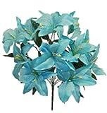 22' Tiger Lily Bush Artificial Silk Wedding Bouquet Flowers Home Party 12PC (Aqua)