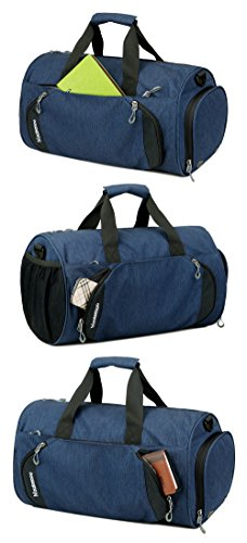 Gym Sports Small Duffel Bag for Men and Women with Shoes Compartment - Mouteenoo (X-Small, Blue/Black)