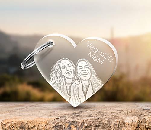 CHRISCK Design sleutelhanger van acryl met gravure fotogravure hart gravure partner-liefdesgeschenk voor kerstmis cadeau-idee vriendinnnen broers liefde fotogravure foto