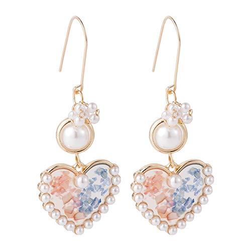 Weixin Nuevos pendientes frescos rosa azul contraste perla chica pendientes moda temperamento personalidad