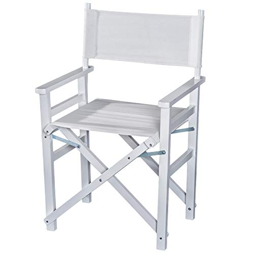 HOMCOM Regiestuhl Gartenstuhl Klappstuhl Stuhl Landhaussessel Sessel Weiß L56 x B46 x H88 cm