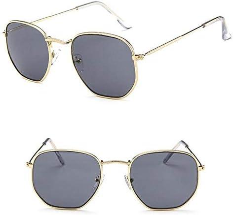 RJGOPL des lunettes de soleil Leonlion Little League Armação Oculos de Sol Feminino Classique Métal Carré Oculos de Sol Dos Homens Vintage Espelho Lunette Soleil Femme Gold Gray