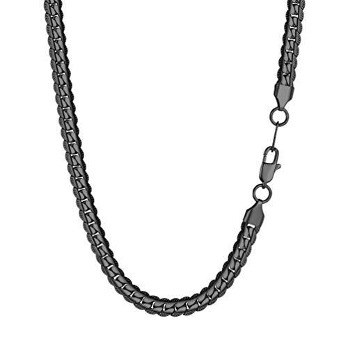 PROSTEEL Collar Hombre Cadena Cubana de Acero Inoxidable 6.5mm/8mm de Ancho Modelo Clásico 7 Tamaños 3 Colores para Seleccionar