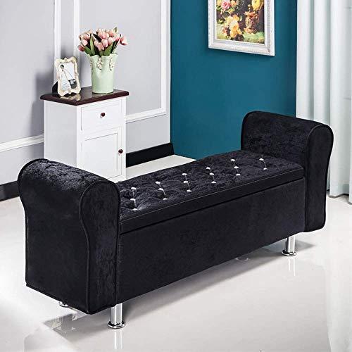 POETRY kruk, nachtkastje, schoenen, van fluweel, voor thuis, woonkamer, winkel, kleding, kruk, rechthoekig, Europes, voor banken 100 120 cm, 6 kleuren (kleur: zwart 100x40x40cm-black