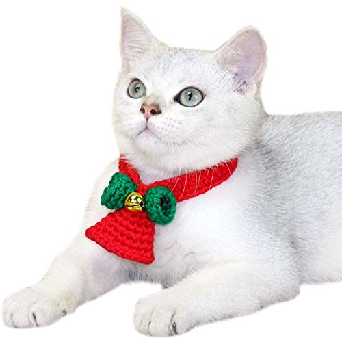 ANIAC Pet Christmas Santa Collar Jingle Bell Neckwear with Bow-Knot Grooming Accessories for Cats and Small Animals (Medium)