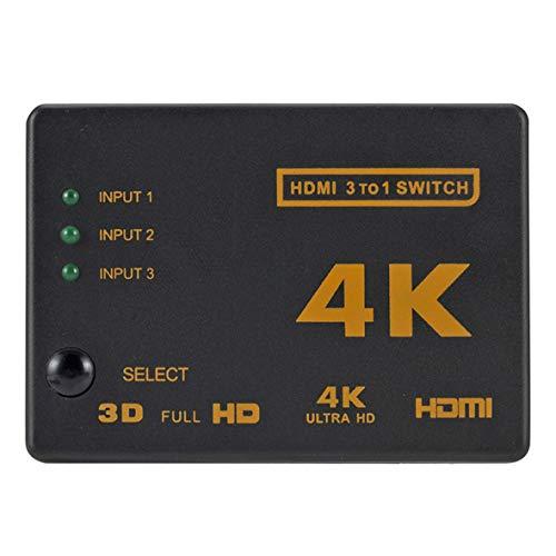 Pennytupu 4K * 2K HDMI Switch Splitter 3 en 1 Out Adaptador convertidor audio/vídeo HDTV con mando a distancia para proyector