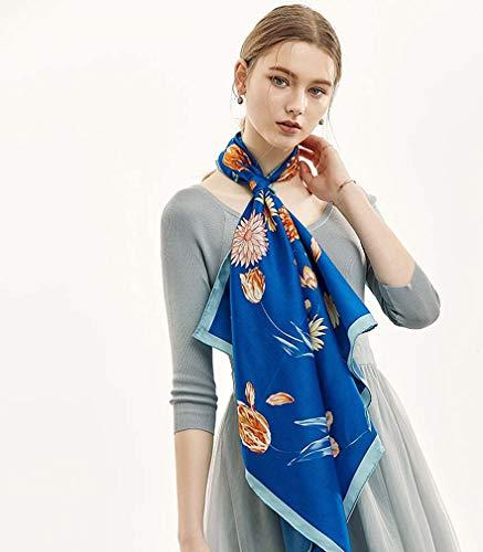 ZWQ Twill Silk Frauen Schal 90 * 90 Britischen Stil Gürteldruck Quadrat Schals Wraps Marke Geschenk Mode Große Seidentücher,B