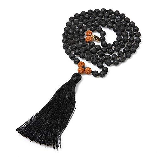 K-ONE & Piedra Natural con Cuentas anudadas 108 Mala Collar Meditación Yoga Amor Lucky Japamala Joyas con pequeñas Piezas de Hierro-Lava Negra