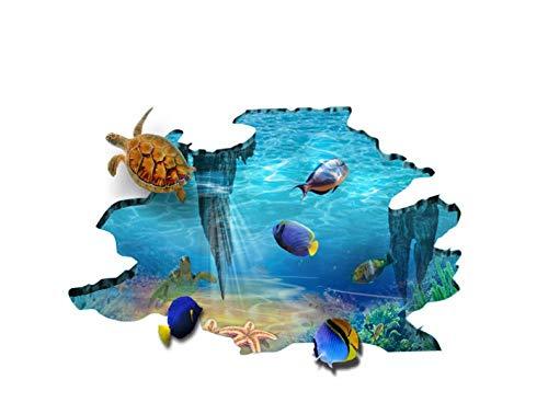 GLEDO -Pegatinas De Suelo 3D Mundo Submarino Sala De Estar Dormitorio Baño Decoración De Baño Pegatinas Pegatinas De Azulejos