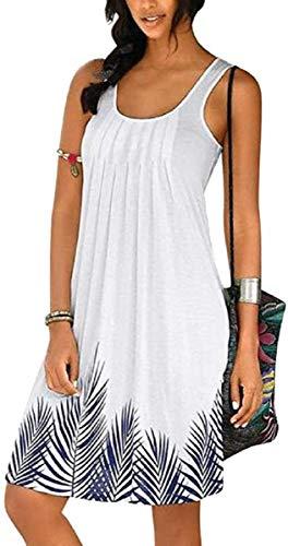 TBSCWYF Vestidos de Playa Estampado sin Mangas Cuello Redondo Casual Verano Mujer Mujer Vestido de Playa Borla de Gasa Cubrir Blusa Camisolas y Pareos Bikini Cover up