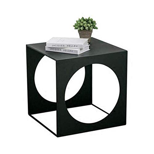 BaiHogi Bed Table, Tables Square Wrought Iron Coffee Table, Outdoor Iron End Table , Side Tables Plant Stand, Black Coffee Table Color : Black, Size : 19.6819.6819.68in