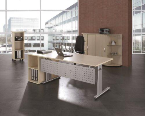 Gera Möbel S-617103-BU/SI Schreibtisch Lissabon, 160 x 80 x 68-82 cm, buche / silber