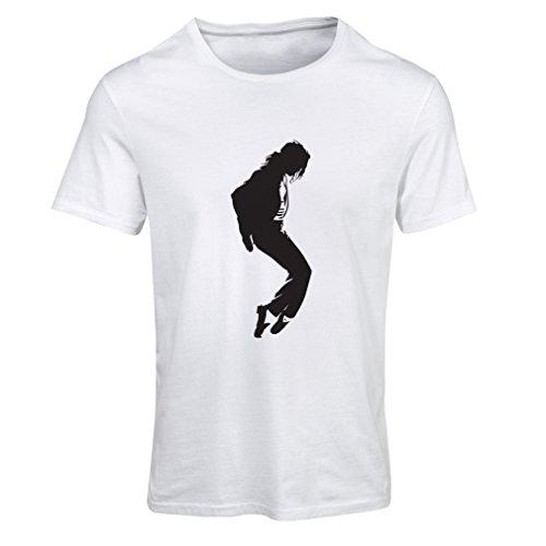 lepni.me Camiseta Mujer Me Encanta MJ El Rey del Pop Fanático De La Música y De Baile Art de Los Años 80 y 90 (S Blanco Negro)