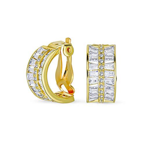 Art Deco estilo novia Declaración AAA CZ Half Hoop Baguette Pendientes para mujeres boda fiesta fiesta formal clip en oro amarillo chapado