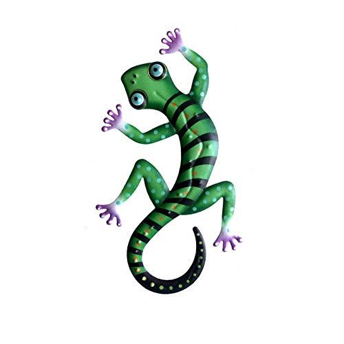 SDFLKAE Salamander Metallkunst-Skulptur Gecko Garten Wanddekoration Deko Outdoor Hinterhof Veranda Haus Terrasse Rasenzaun Dekorationen Hängende Eidechse Statue