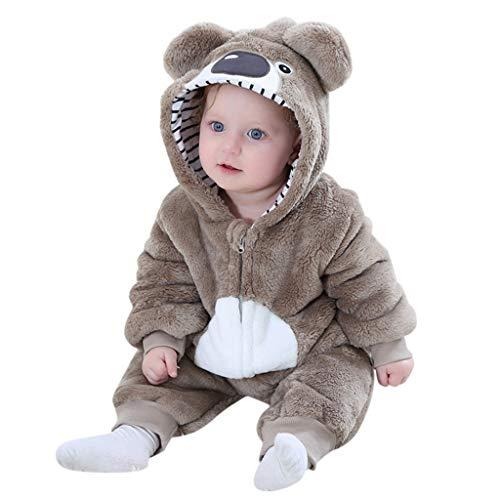 Sannysis Baby Winter Flanell Overall Jumpsuit Kuschelig Mädchen Junge Niedlich Tier Kostüm Strampler Pyjama Schneeanzug Outfits Spielanzug mit Kapuze Footies Babykleidung (80, Braun1)