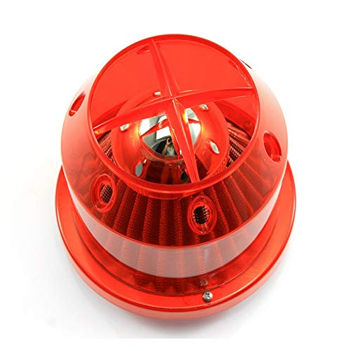 XXYHYQHJD La Fibra de Carbono de Alto Flujo Coche del Invierno de Seta Modificado Toma de Aire Filtro Filtro Elemento del Filtro de Aire Universal 76MM Filtrar (Color : Rojo, Size : Gratis)