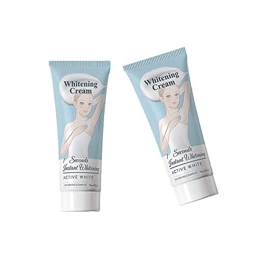 plmk 60/120ML Underarm Skin Whitening Cream, 10 Seconds Instant Whitening, Nourishes, Moisturizes, & Repairs Skin Lightening Cream (2Bottle)