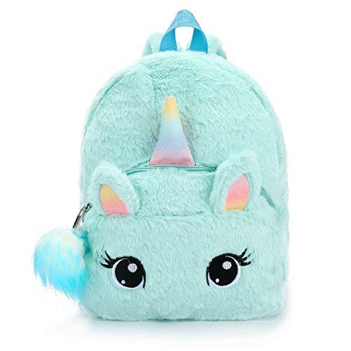 dressfan Mochila con diseño de Unicornio Mochilas Infantiles de Peluche para niños de 2 a 6 años con Colgante de Bola de Pelo
