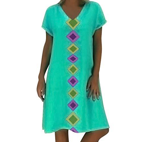 Damen Baumwolle Leinen Kleiden, LeeMon Frauen Sommer Kurzarm V-Ausschnitt Geometric Print Cotton Shift Casual Dress