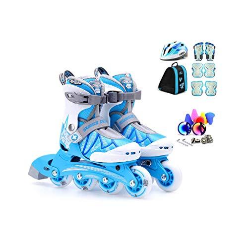 Taoke Inline Skates, Geschwindigkeit Skates for Kinder, EIN voller Satz Roller Skates, Schlittschuhe Einstellbare (Farbe: Blau, Größe: M (31-34 Meter) 6-10 Jahre) dongdong