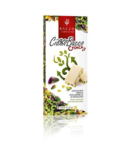 Ciokkobacco Crunch 100 gr - tavoletta di cioccolato bianco con granella di pistacchio Bacco by Nelson Sicily