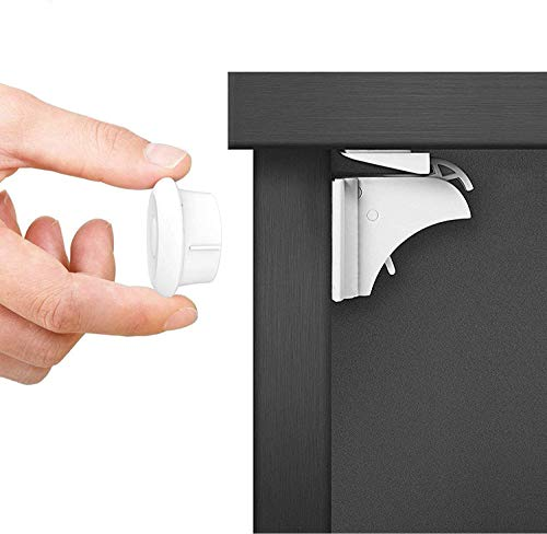 Dokon Child Safety Magnetic Cupboard Locks (10 Locks + 2 Keys), No Tools Or Screws Needed, Bonus Instruction Video, Baby Safety Locks for Cabinets and Drawers