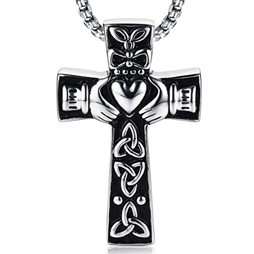 Jude Jewelers Retro Vintage Stainless Steel Celtic Knot Claddagh Jesus Cross Heart Pendant Necklace (Silver)