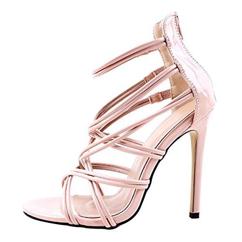 Juleya Frauen Sommer Sandalen Damen Kätzchen High Heel Sandaletten Strappy Bridal Zip Ankle High Heels offene Zehe Schuhe