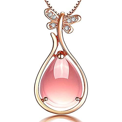 Moda PersonalizadaCristal RosaNatural Borde De Pipa Colgante FemeninoHibisco Piedra Arpa Temperamento Colgante Simple Collar De Cristal Rosa