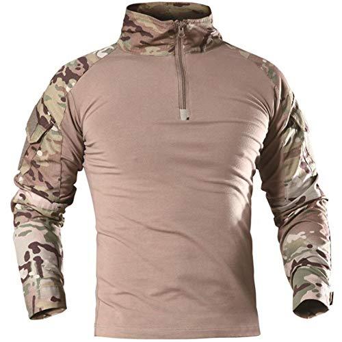 TRGPSG Camisa táctica militar de combate para hombre, manga larga, 1/4 con cremallera, diseño de camuflaje y airsoft con bolsillos - - Large