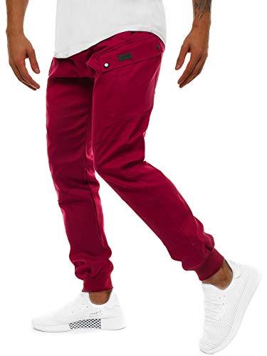 OZONEE Herren Chino Hose Chinos Lang Stoffhose Jogger Chinohose Pants Cargohose Cargo Freizeithose Arbeitshose Sporthose Slim Fit Regular Casual Stretch Taschen 777/3056S WEINROT XL